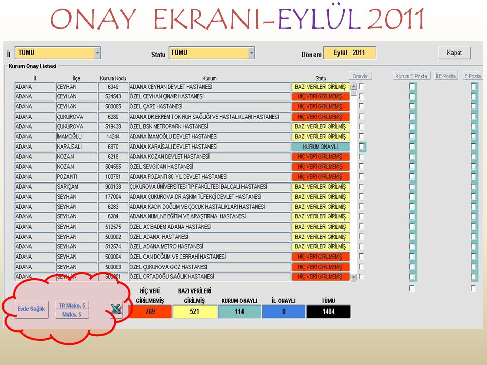 ONAY EKRANI-EYLÜL 2011