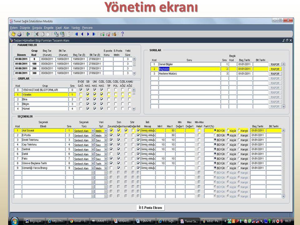 Yönetim ekranı