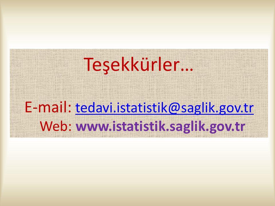Teşekkürler… E-mail: tedavi. istatistik@saglik. gov. tr Web: www