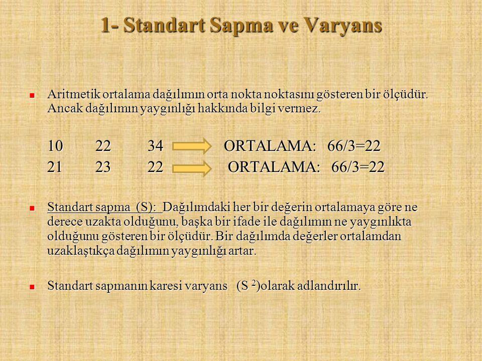 1- Standart Sapma ve Varyans