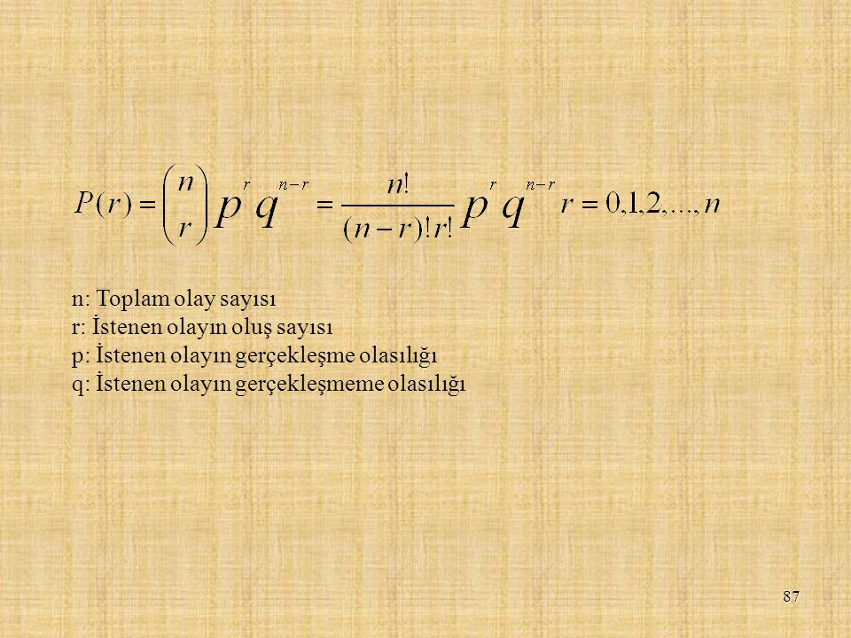 n: Toplam olay sayısı r: İstenen olayın oluş sayısı.