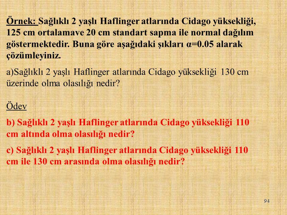 Örnek: Sağlıklı 2 yaşlı Haflinger atlarında Cidago yüksekliği, 125 cm ortalamave 20 cm standart sapma ile normal dağılım göstermektedir. Buna göre aşağıdaki şıkları α=0.05 alarak çözümleyiniz.