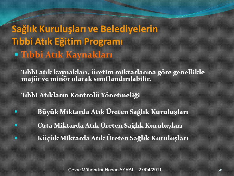 Sağlık Kuruluşları ve Belediyelerin Tıbbi Atık Eğitim Programı