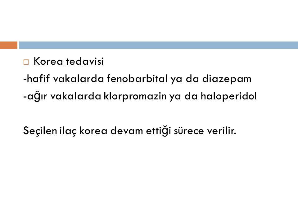 Korea tedavisi -hafif vakalarda fenobarbital ya da diazepam. -ağır vakalarda klorpromazin ya da haloperidol.