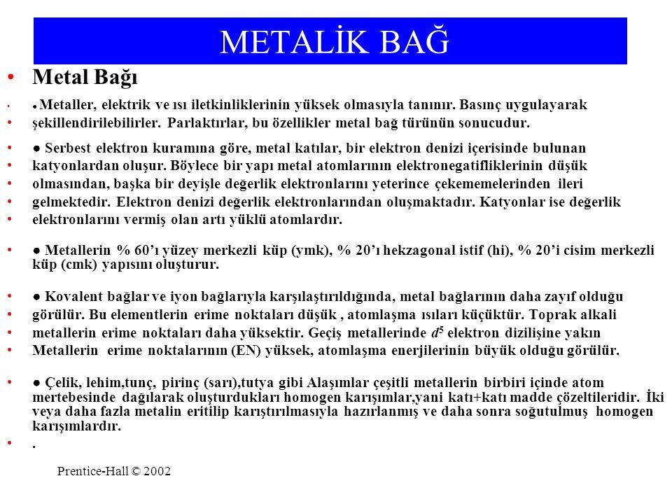 METALİK BAĞ Metal Bağı. ● Metaller, elektrik ve ısı iletkinliklerinin yüksek olmasıyla tanınır. Basınç uygulayarak.