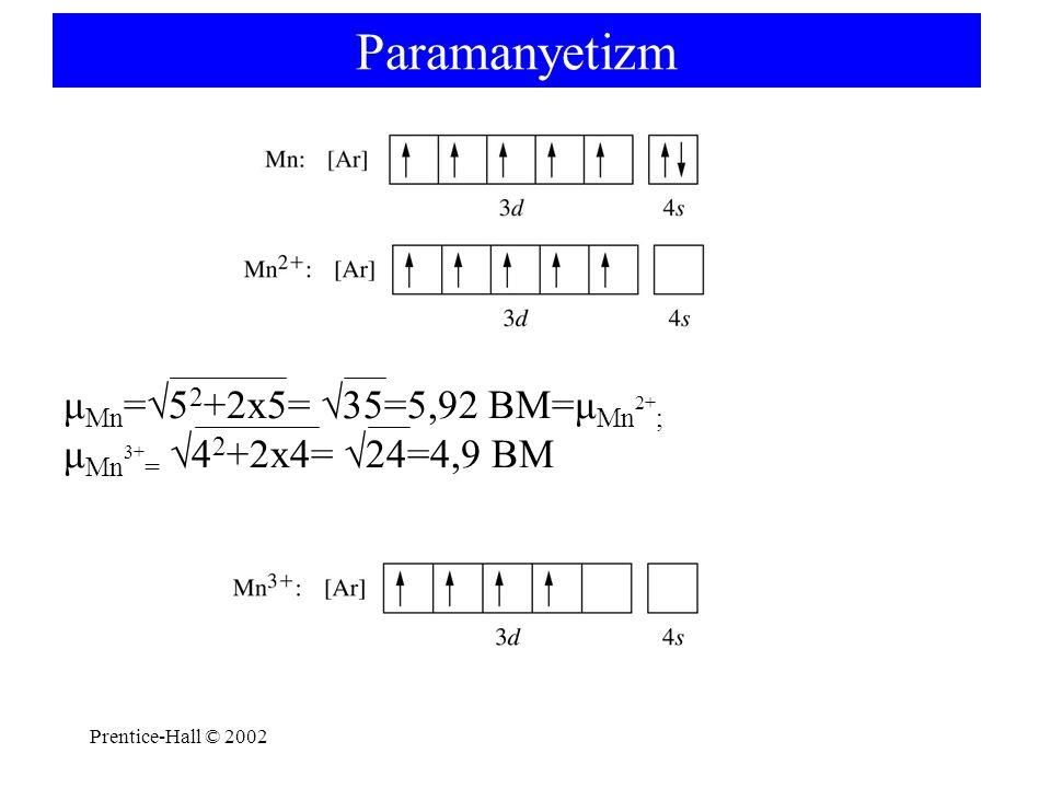 Paramanyetizm μMn=√52+2x5= √35=5,92 BM=μMn2+; μMn3+= √42+2x4= √24=4,9 BM.