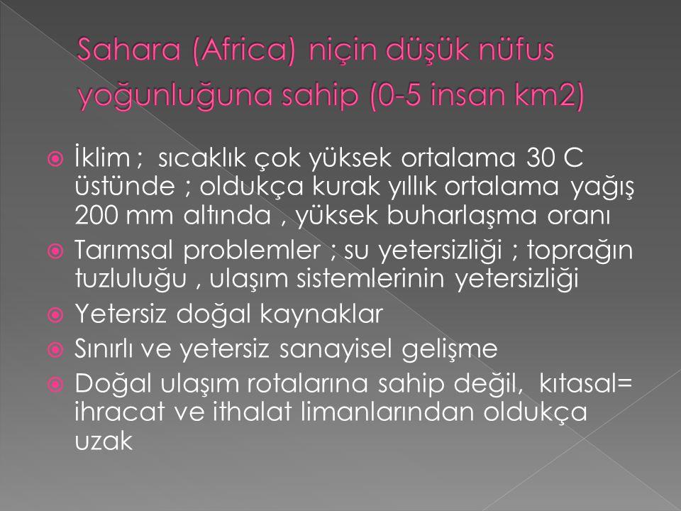 Sahara (Africa) niçin düşük nüfus yoğunluğuna sahip (0-5 insan km2)