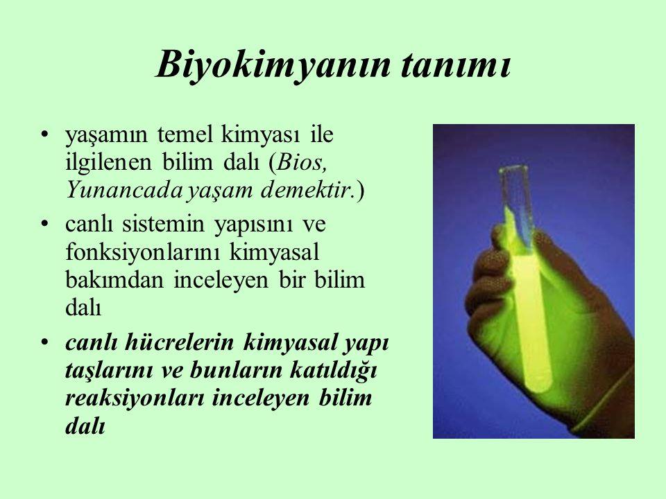 Biyokimyanın tanımı yaşamın temel kimyası ile ilgilenen bilim dalı (Bios, Yunancada yaşam demektir.)