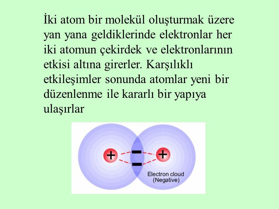 İki atom bir molekül oluşturmak üzere yan yana geldiklerinde elektronlar her iki atomun çekirdek ve elektronlarının etkisi altına girerler.