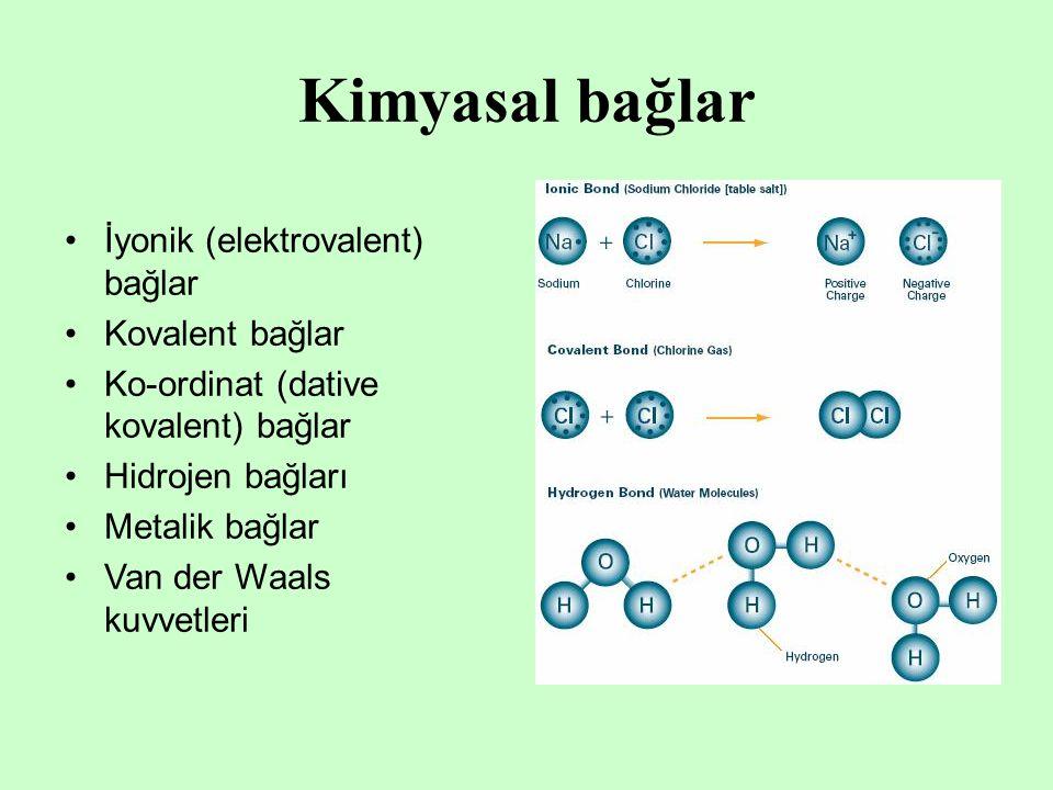 Kimyasal bağlar İyonik (elektrovalent) bağlar Kovalent bağlar