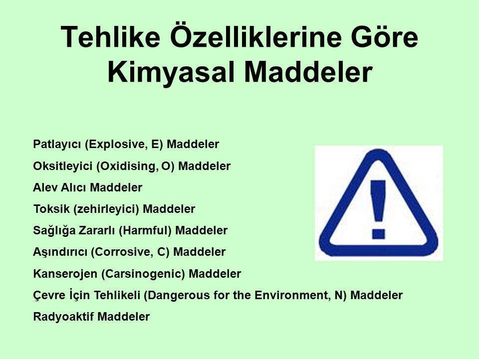 Tehlike Özelliklerine Göre Kimyasal Maddeler