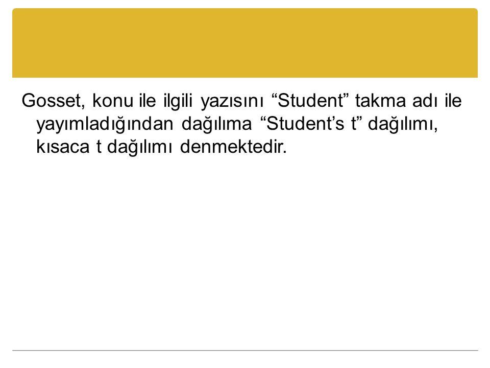 Gosset, konu ile ilgili yazısını Student takma adı ile yayımladığından dağılıma Student's t dağılımı, kısaca t dağılımı denmektedir.