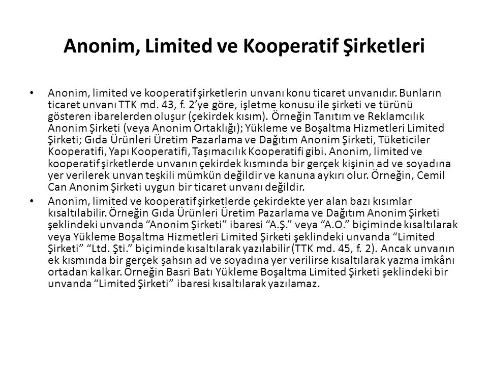 Anonim, Limited ve Kooperatif Şirketleri