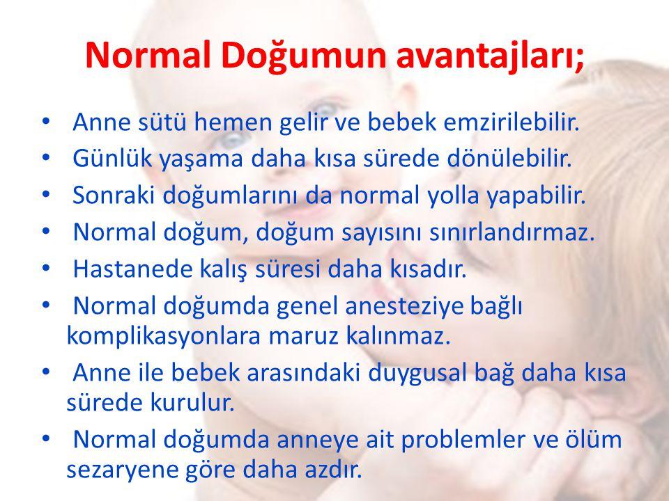 Normal Doğumun avantajları;