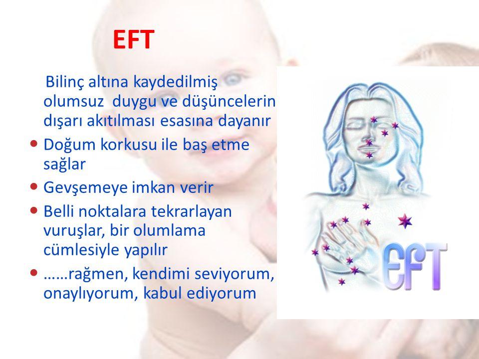 EFT Bilinç altına kaydedilmiş olumsuz duygu ve düşüncelerin dışarı akıtılması esasına dayanır. Doğum korkusu ile baş etme sağlar.