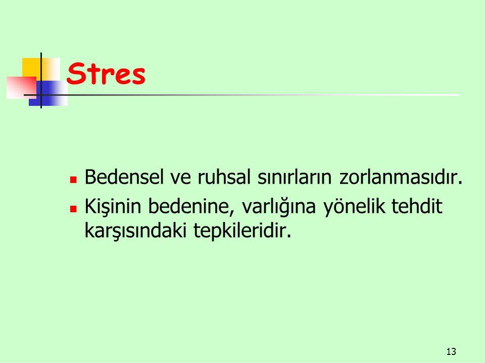 Stres Bedensel ve ruhsal sınırların zorlanmasıdır.