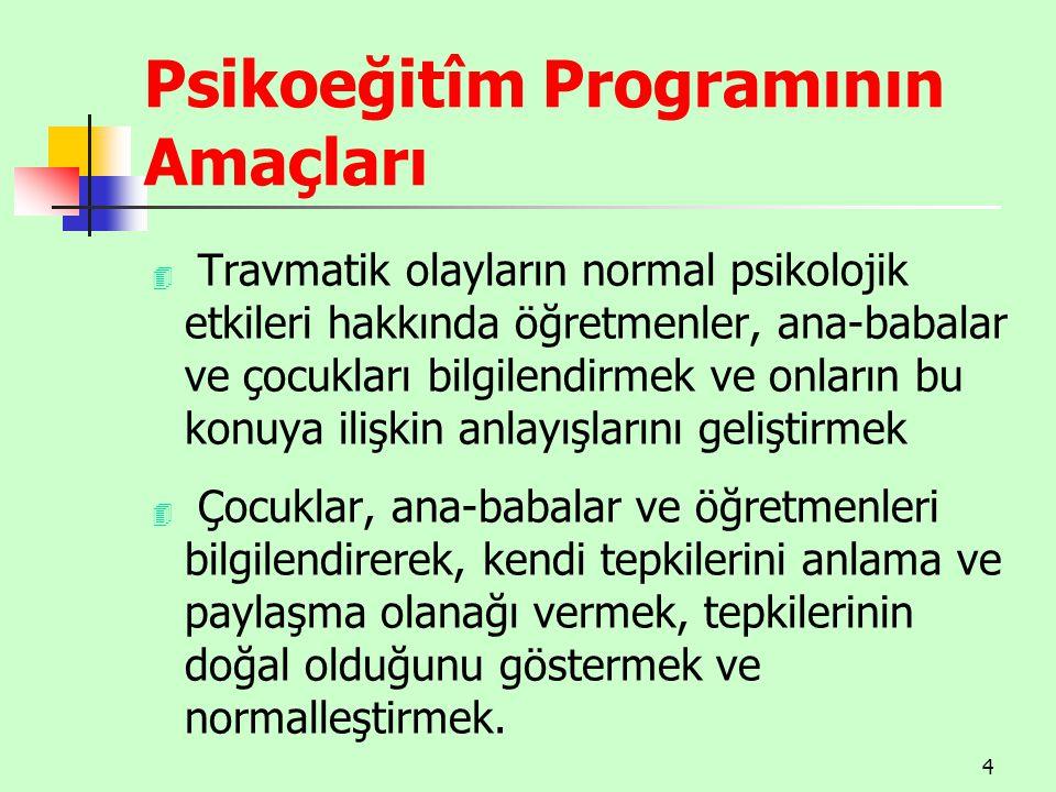 Psikoeğitîm Programının Amaçları