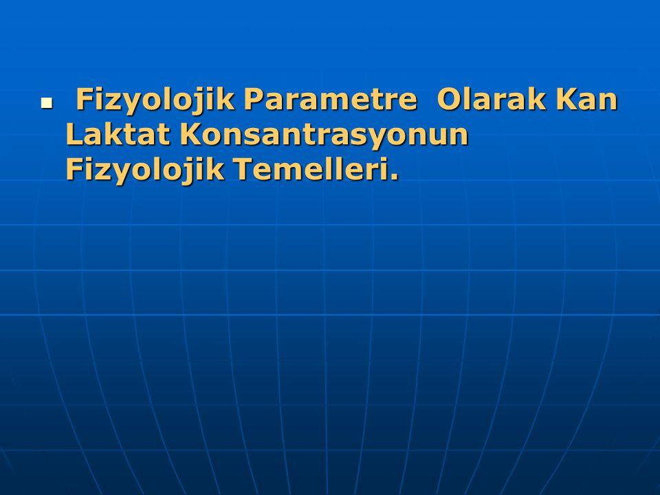 Fizyolojik Parametre Olarak Kan Laktat Konsantrasyonun Fizyolojik Temelleri.