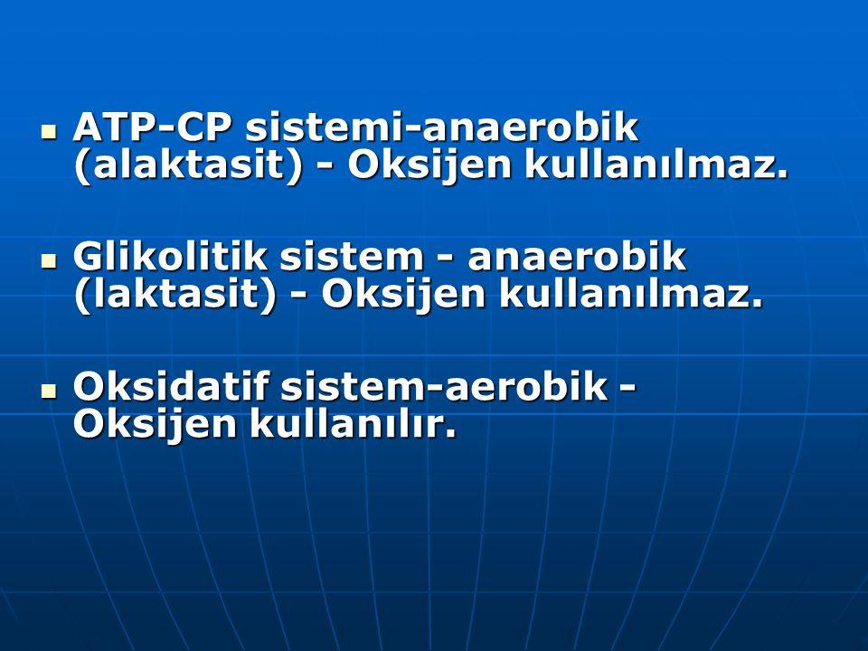 ATP-CP sistemi-anaerobik (alaktasit) - Oksijen kullanılmaz.