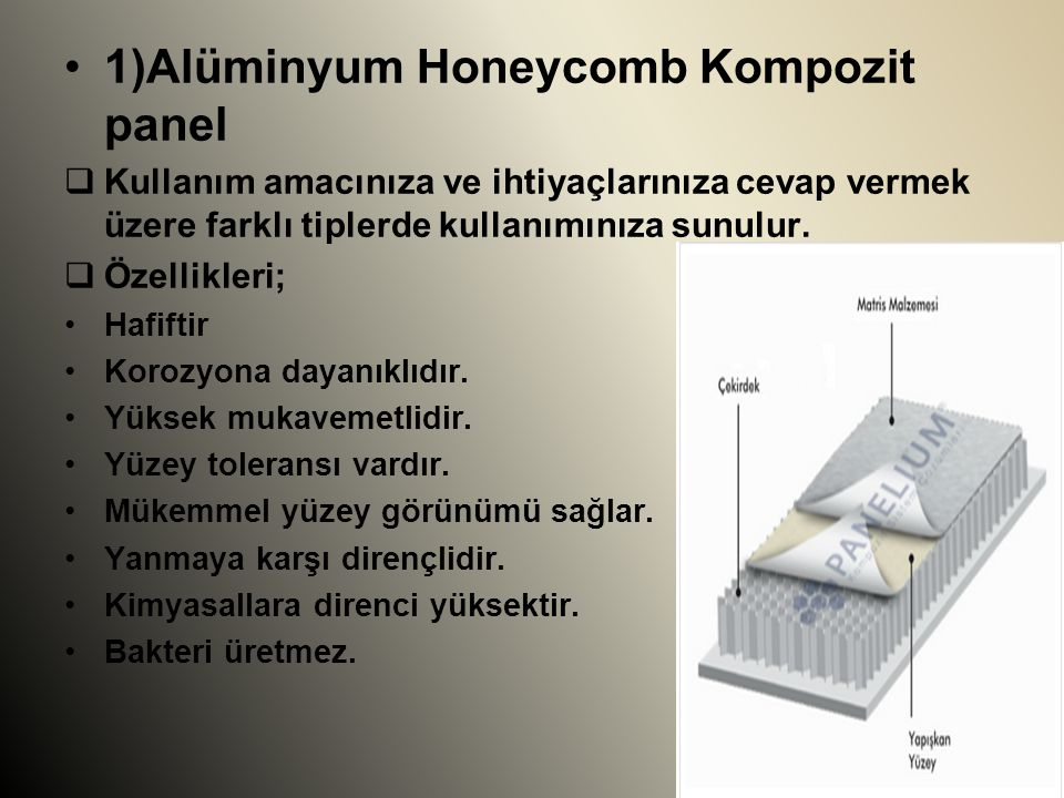 1)Alüminyum Honeycomb Kompozit panel