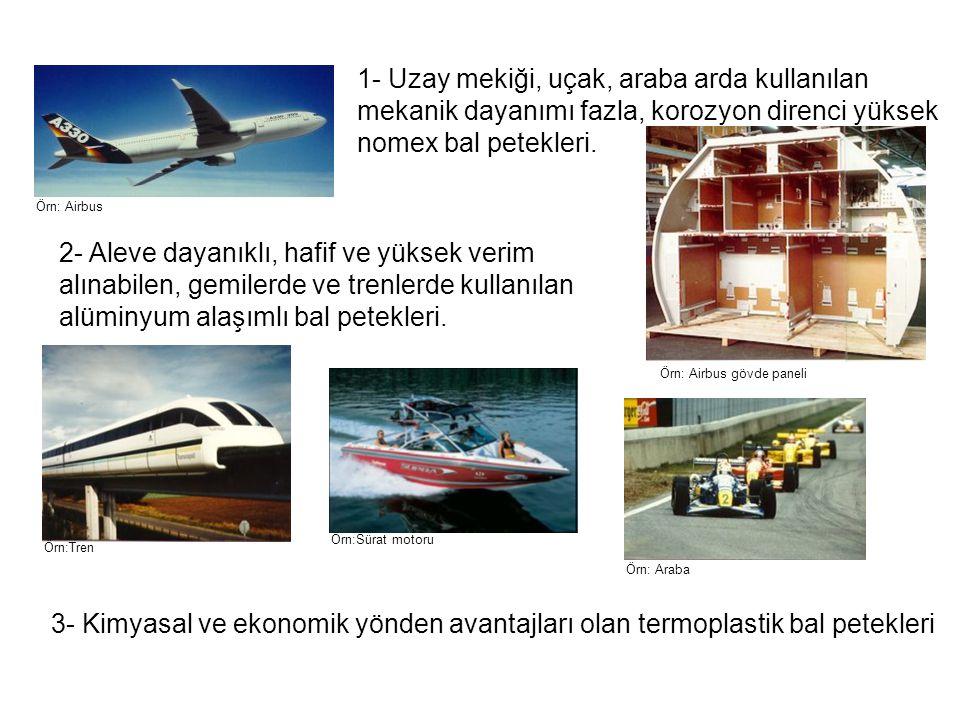 1- Uzay mekiği, uçak, araba arda kullanılan mekanik dayanımı fazla, korozyon direnci yüksek nomex bal petekleri.