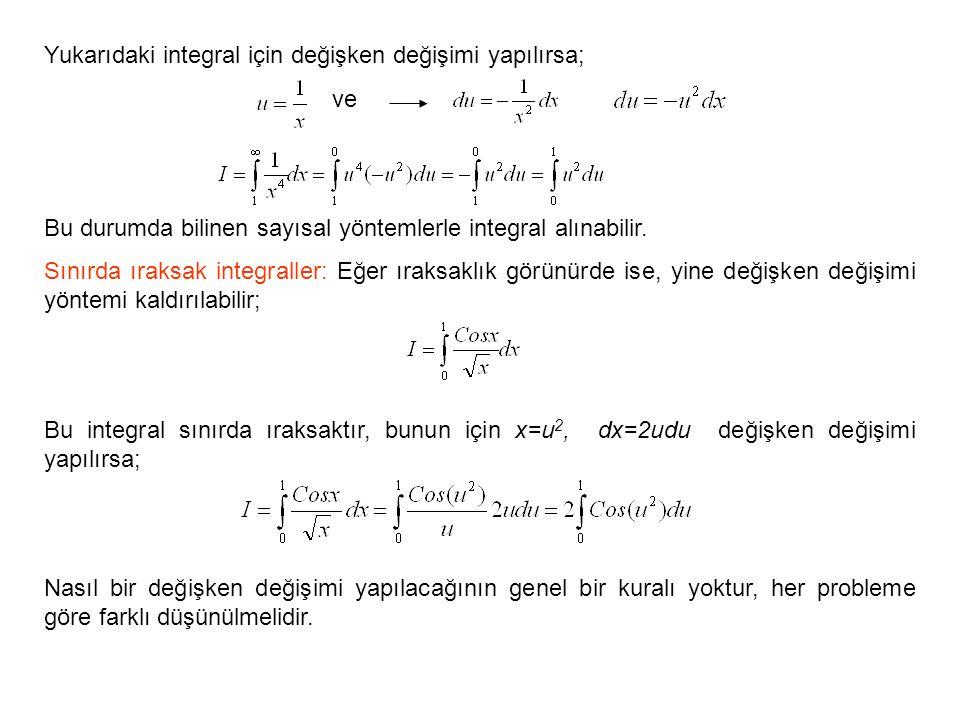 Yukarıdaki integral için değişken değişimi yapılırsa;