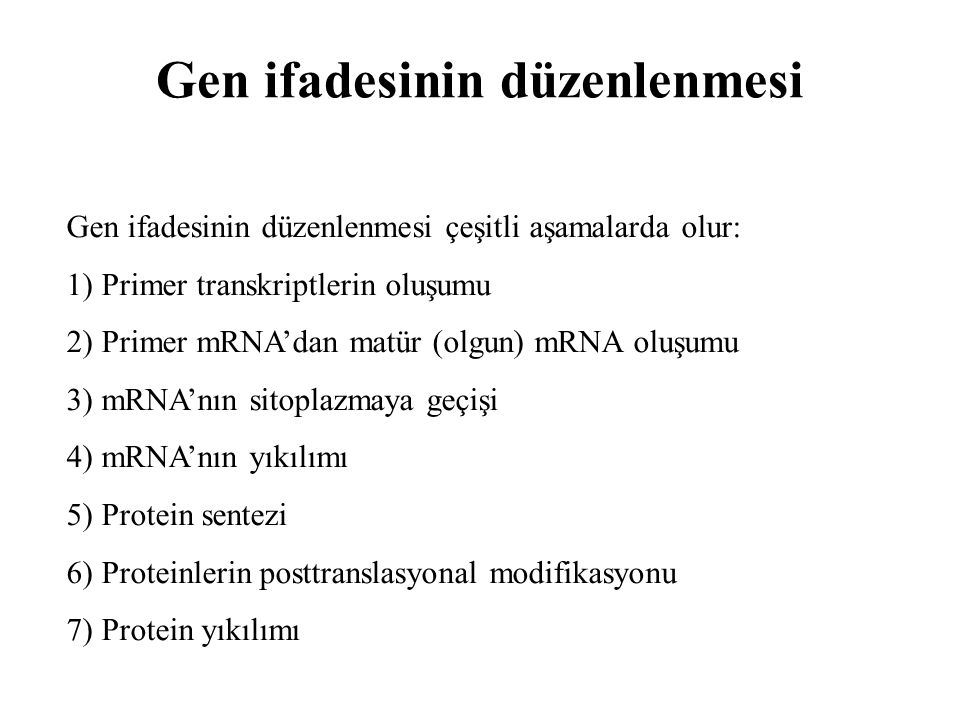 Gen ifadesinin düzenlenmesi