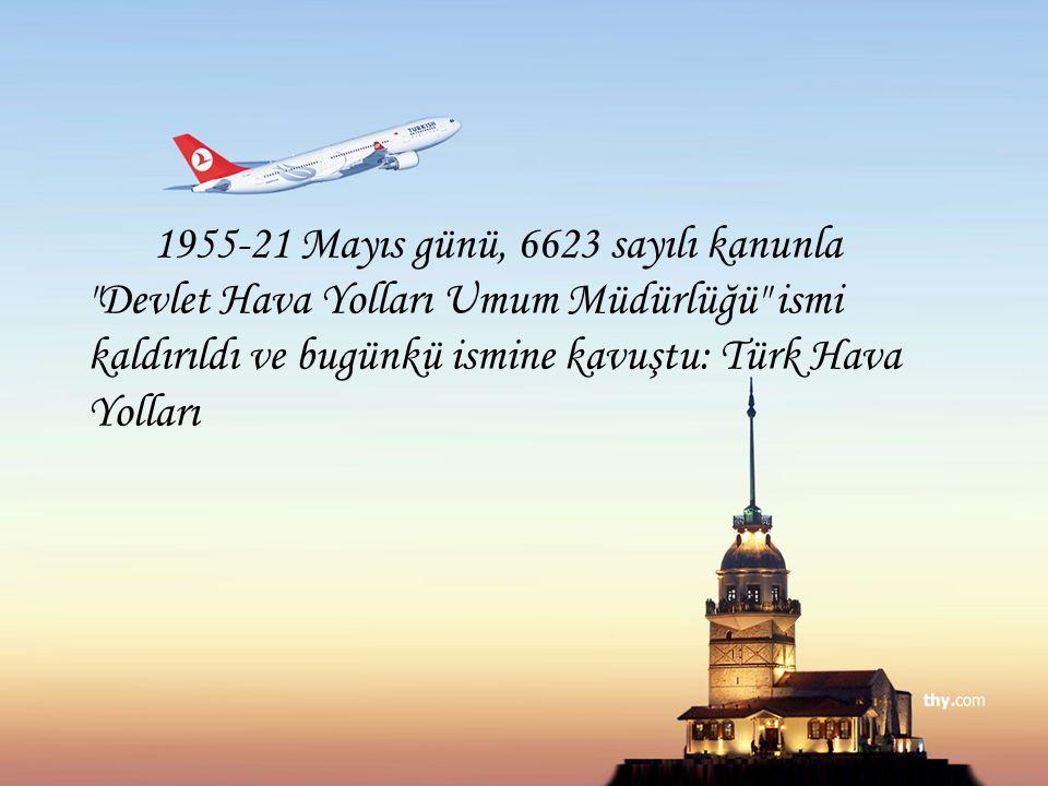 1955-21 Mayıs günü, 6623 sayılı kanunla Devlet Hava Yolları Umum Müdürlüğü ismi kaldırıldı ve bugünkü ismine kavuştu: Türk Hava Yolları