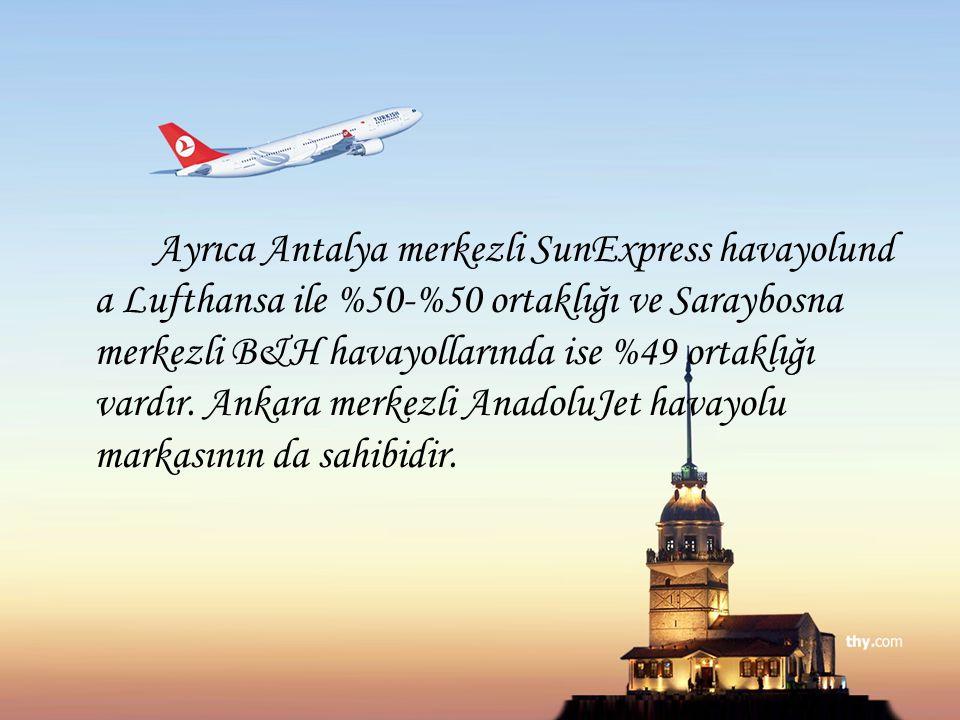 Ayrıca Antalya merkezli SunExpress havayolunda Lufthansa ile %50-%50 ortaklığı ve Saraybosna merkezli B&H havayollarında ise %49 ortaklığı vardır.