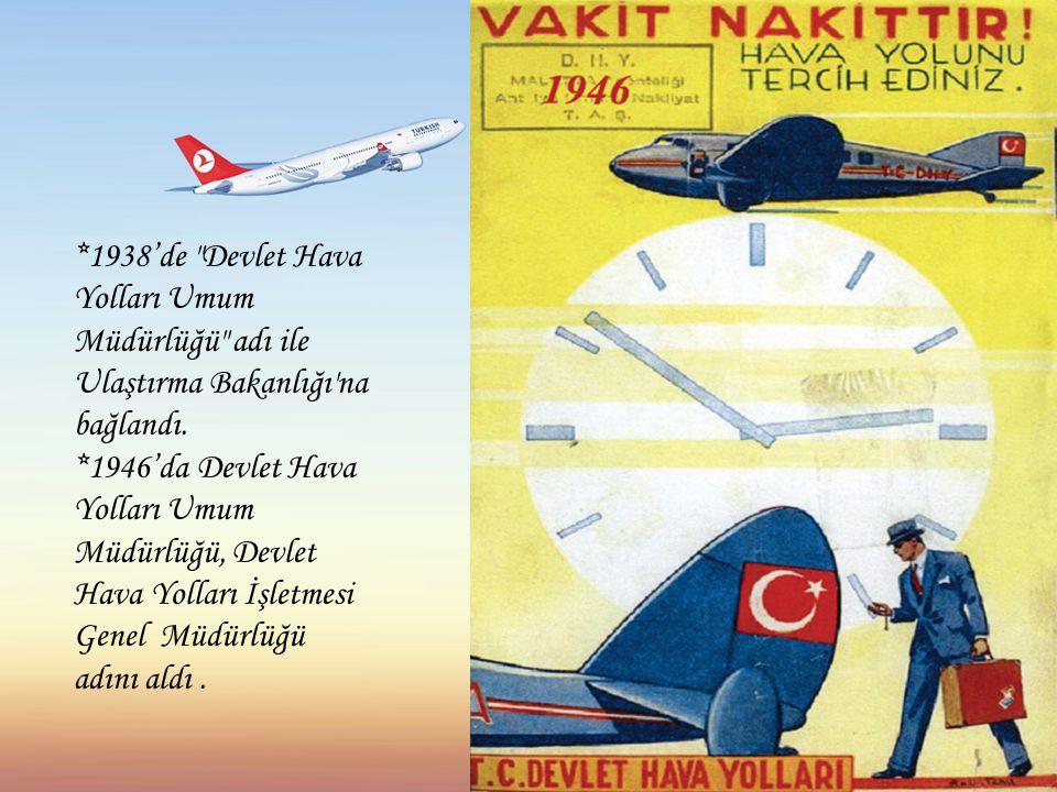 *1938'de Devlet Hava Yolları Umum Müdürlüğü adı ile Ulaştırma Bakanlığı na bağlandı.