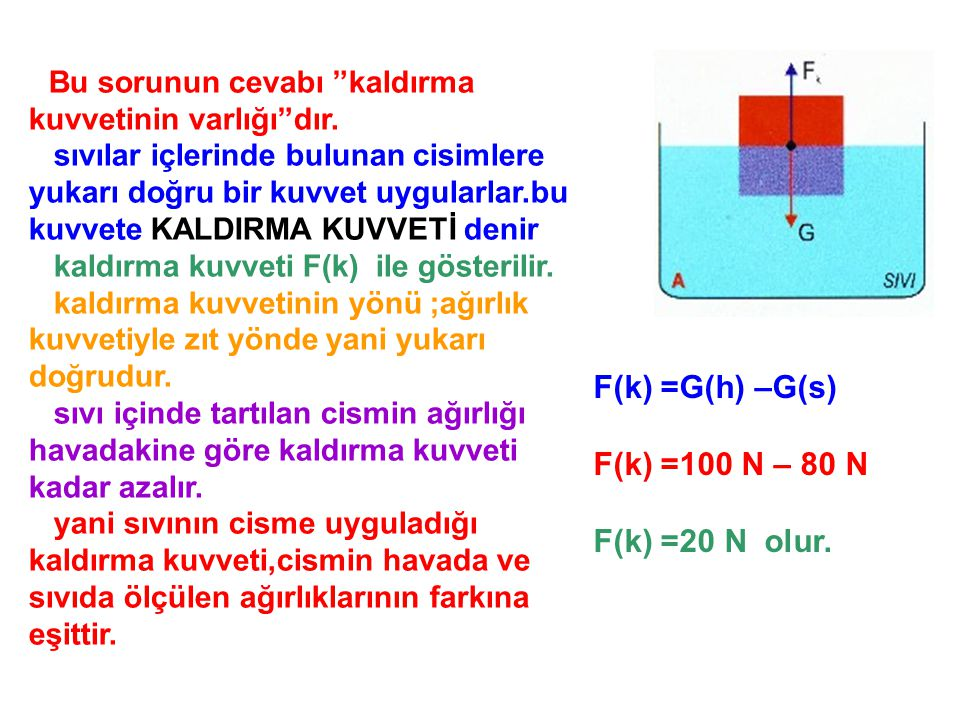 F(k) =G(h) –G(s) F(k) =100 N – 80 N F(k) =20 N olur.