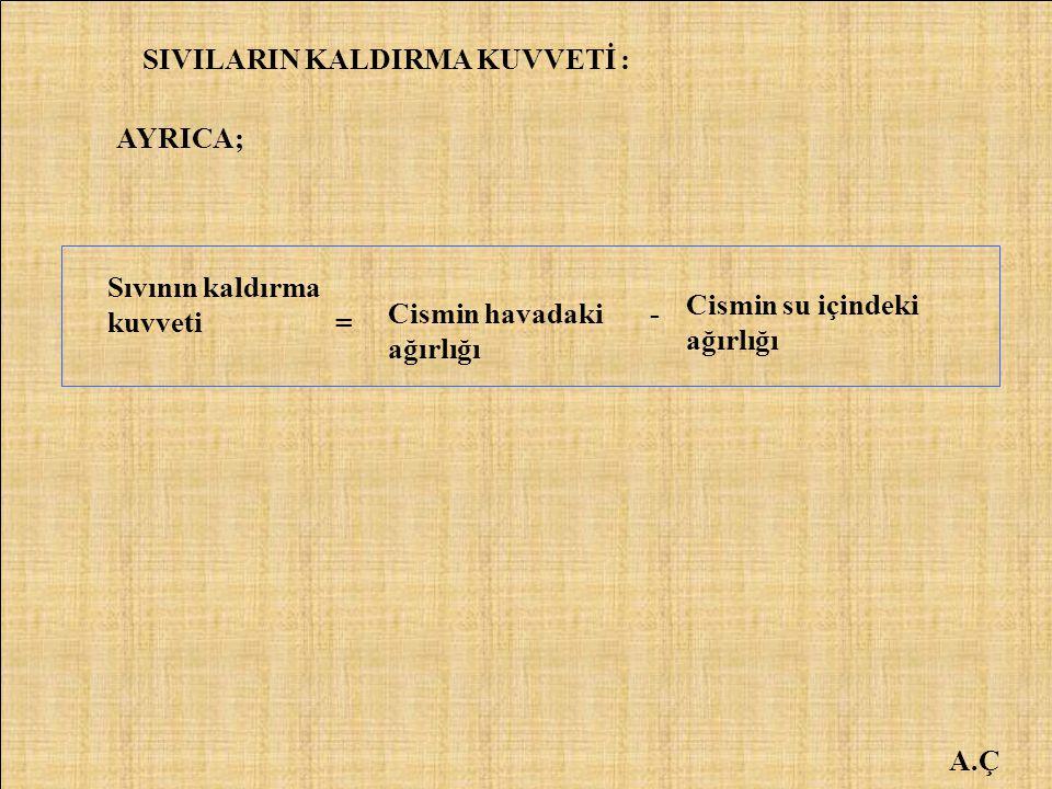 SIVILARIN KALDIRMA KUVVETİ :