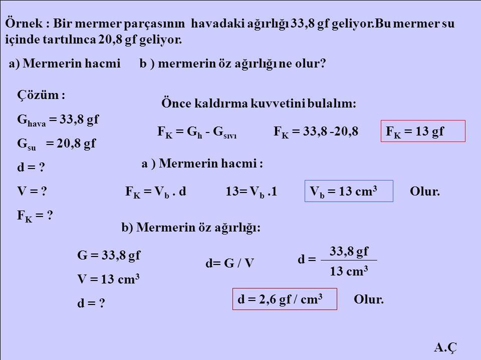 Örnek : Bir mermer parçasının havadaki ağırlığı 33,8 gf geliyor