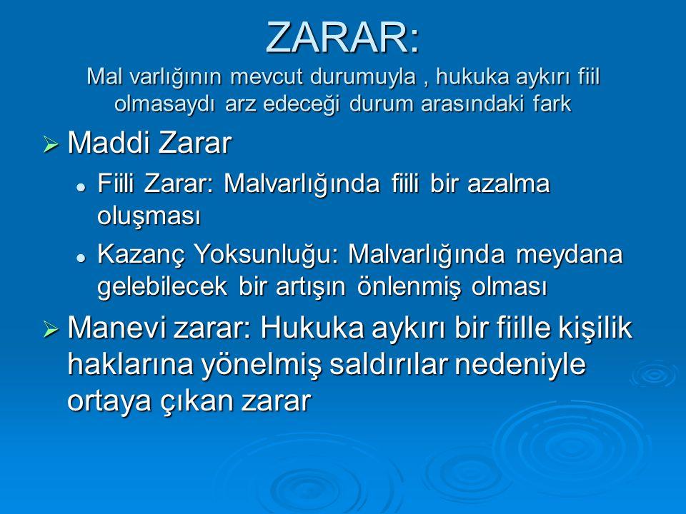 ZARAR: Mal varlığının mevcut durumuyla , hukuka aykırı fiil olmasaydı arz edeceği durum arasındaki fark