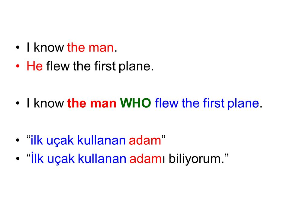 I know the man. He flew the first plane. I know the man WHO flew the first plane. ilk uçak kullanan adam