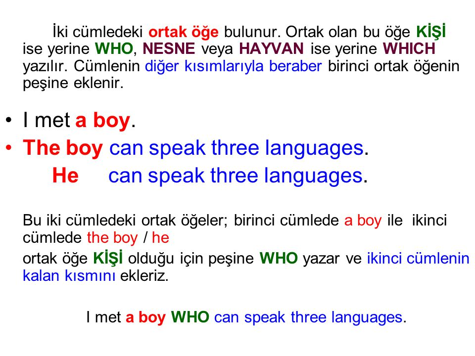 I met a boy WHO can speak three languages.