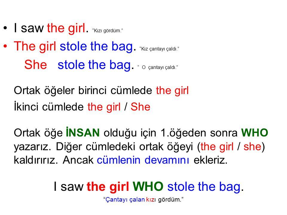 I saw the girl. Kızı gördüm.