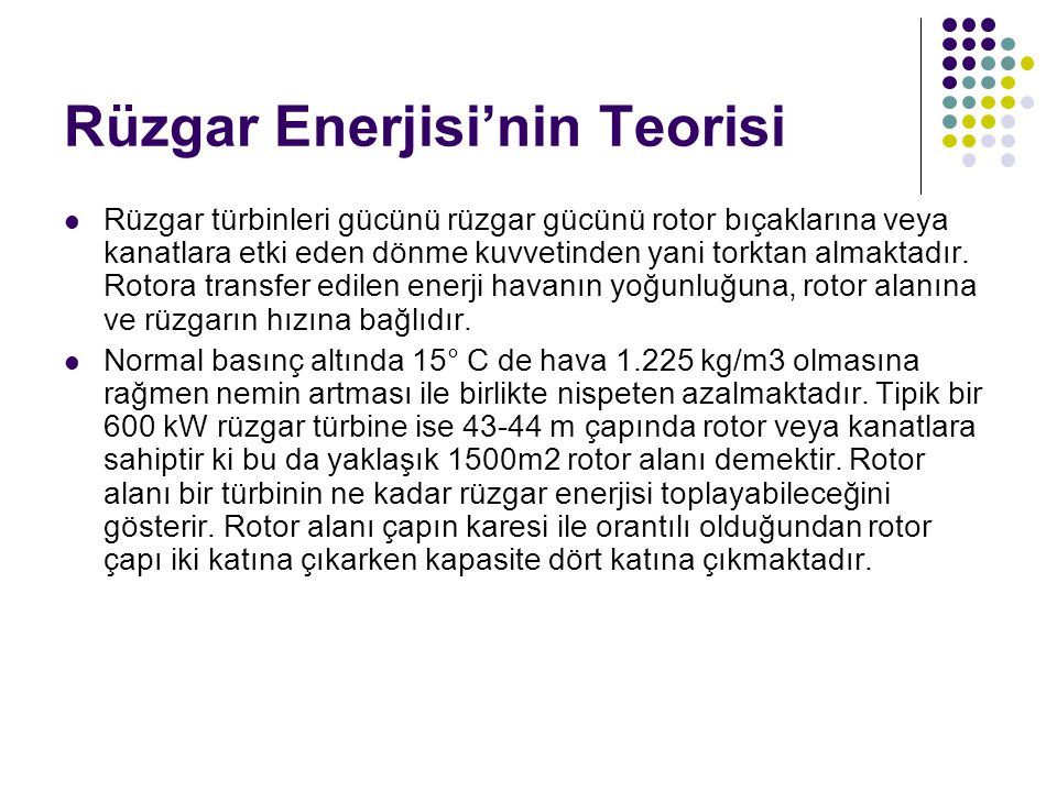 Rüzgar Enerjisi'nin Teorisi