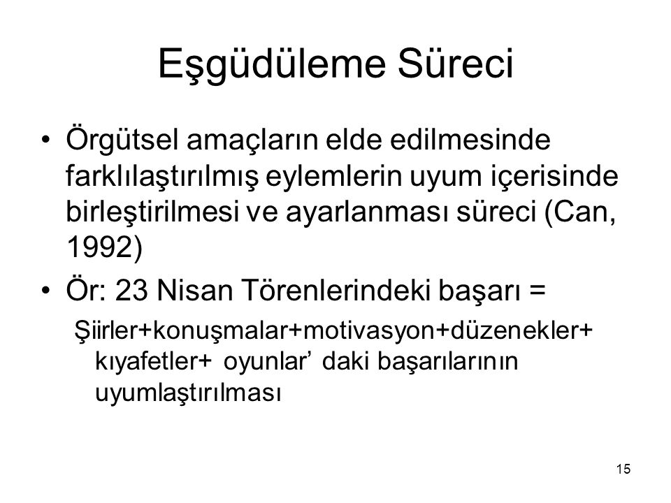 Eşgüdüleme Süreci Örgütsel amaçların elde edilmesinde farklılaştırılmış eylemlerin uyum içerisinde birleştirilmesi ve ayarlanması süreci (Can, 1992)