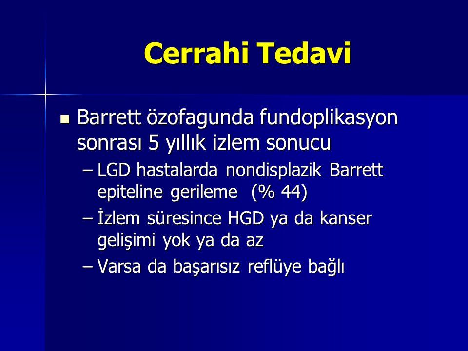 Cerrahi Tedavi Barrett özofagunda fundoplikasyon sonrası 5 yıllık izlem sonucu. LGD hastalarda nondisplazik Barrett epiteline gerileme (% 44)