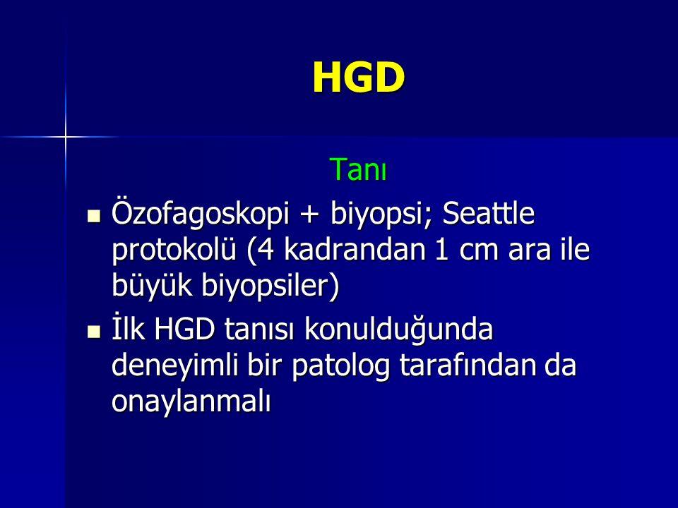 HGD Tanı. Özofagoskopi + biyopsi; Seattle protokolü (4 kadrandan 1 cm ara ile büyük biyopsiler)