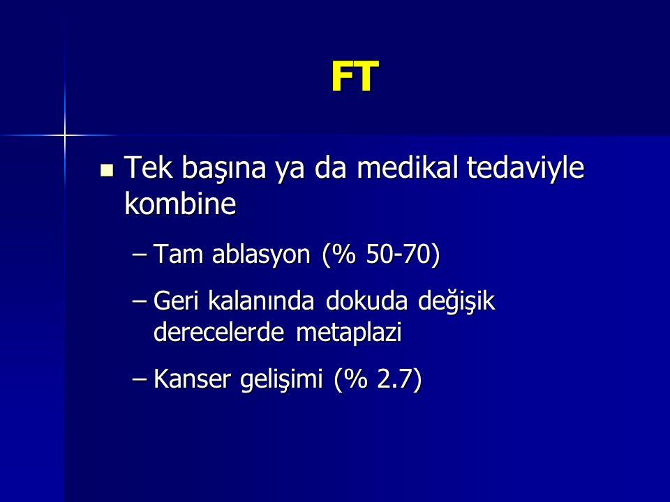 FT Tek başına ya da medikal tedaviyle kombine Tam ablasyon (% 50-70)