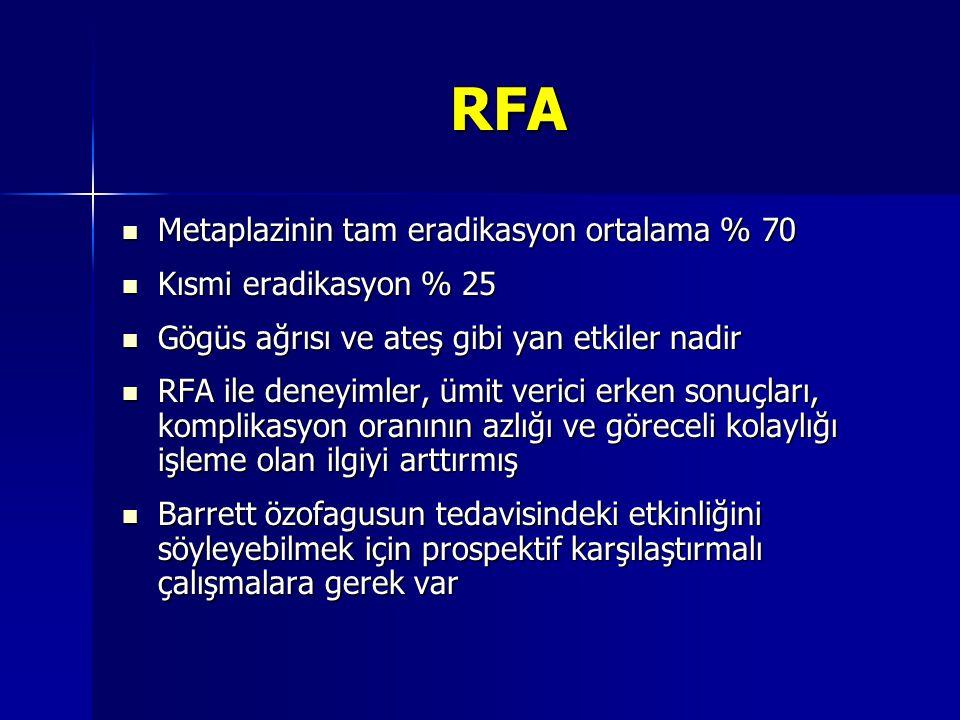 RFA Metaplazinin tam eradikasyon ortalama % 70 Kısmi eradikasyon % 25