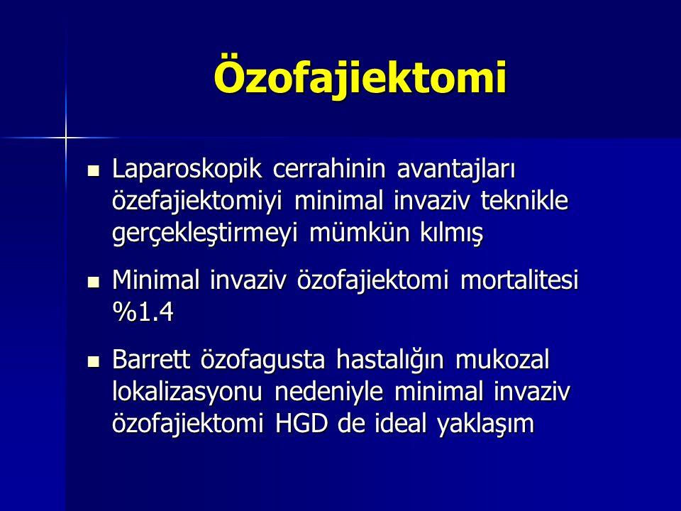 Özofajiektomi Laparoskopik cerrahinin avantajları özefajiektomiyi minimal invaziv teknikle gerçekleştirmeyi mümkün kılmış.
