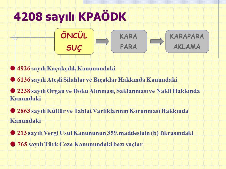 4208 sayılı KPAÖDK ÖNCÜL SUÇ KARA PARA KARAPARA AKLAMA