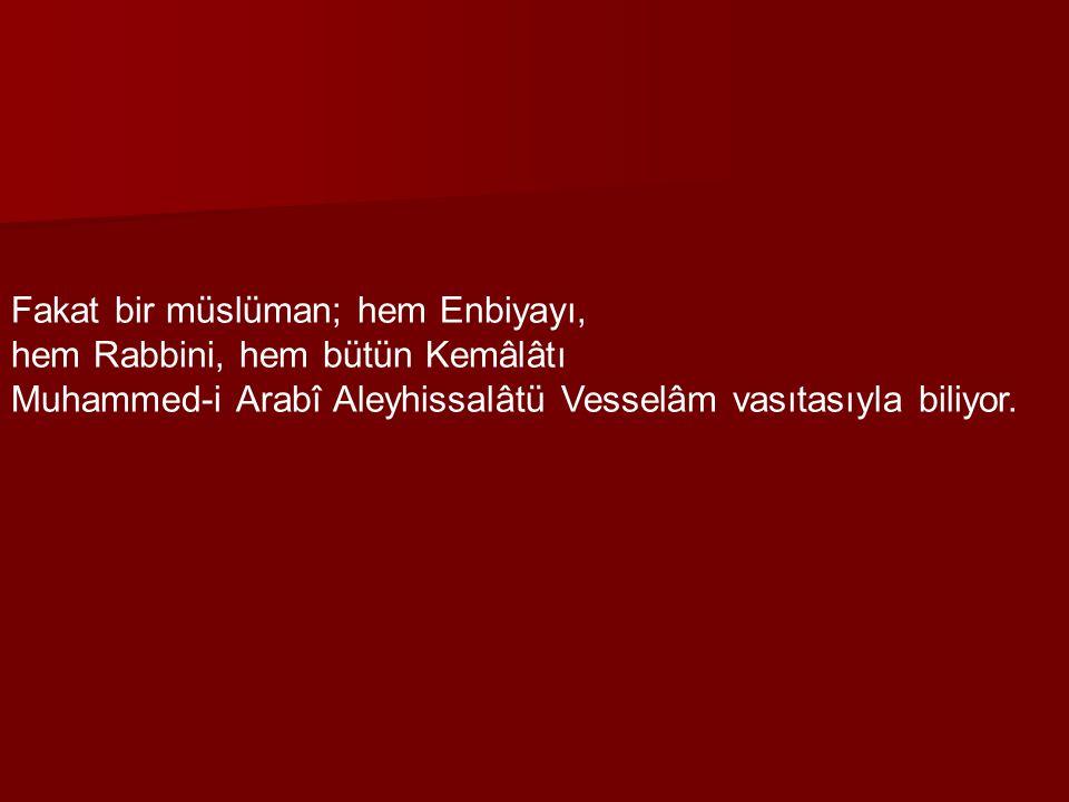 Fakat bir müslüman; hem Enbiyayı,