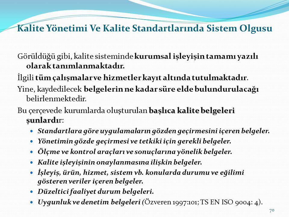 Kalite Yönetimi Ve Kalite Standartlarında Sistem Olgusu