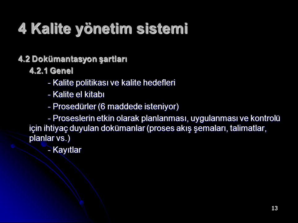 4 Kalite yönetim sistemi