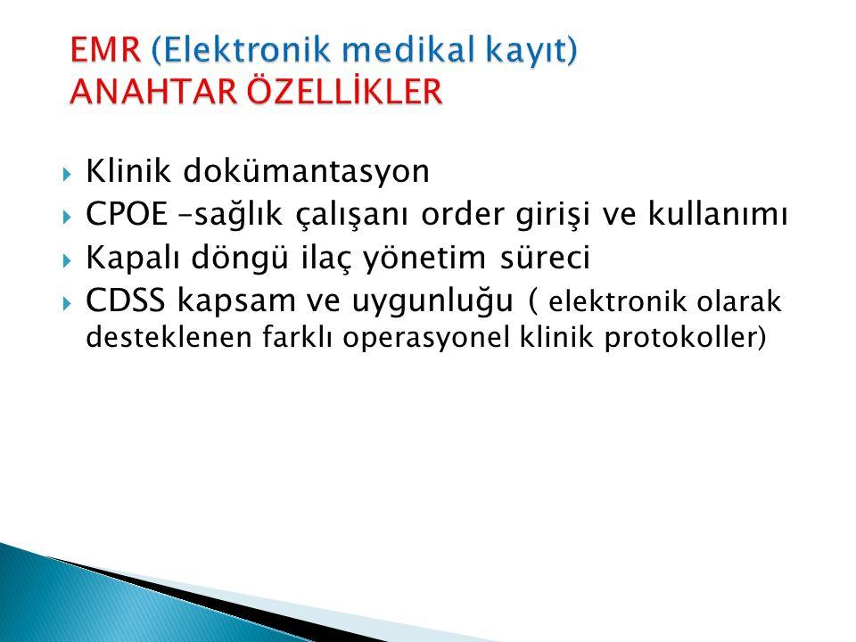 EMR (Elektronik medikal kayıt) ANAHTAR ÖZELLİKLER