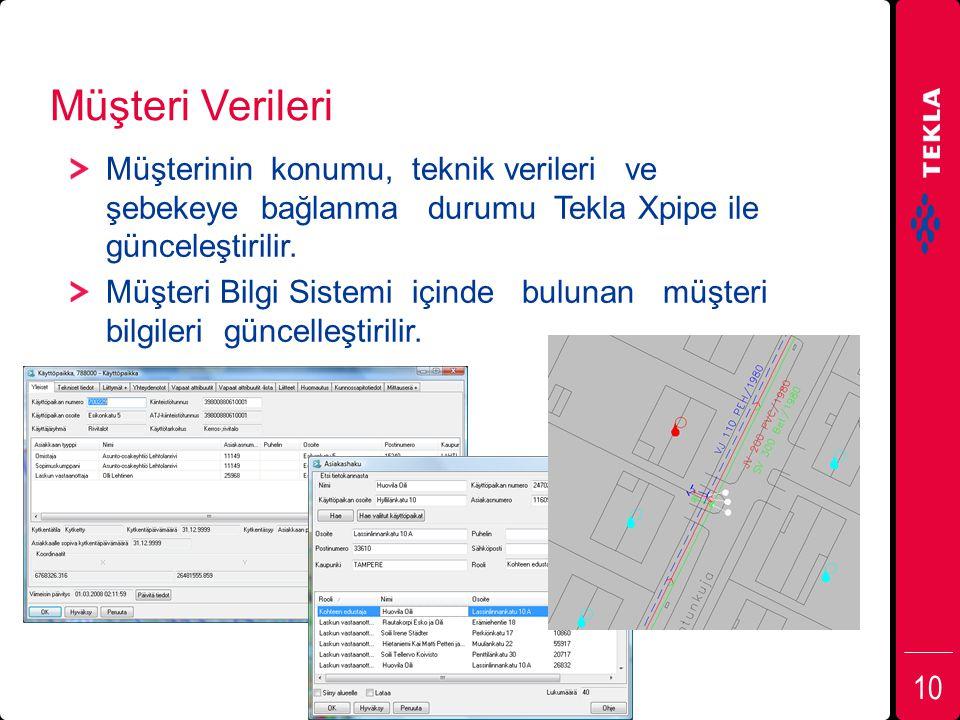 Müşteri Verileri Müşterinin konumu, teknik verileri ve şebekeye bağlanma durumu Tekla Xpipe ile günceleştirilir.